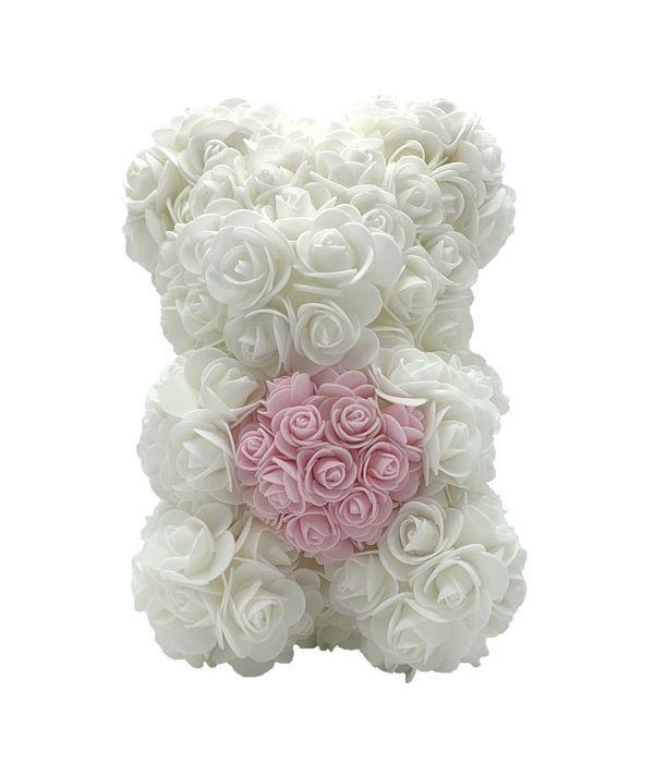 Λευκό - ροζ αρκουδάκι από τριαντάφυλλα