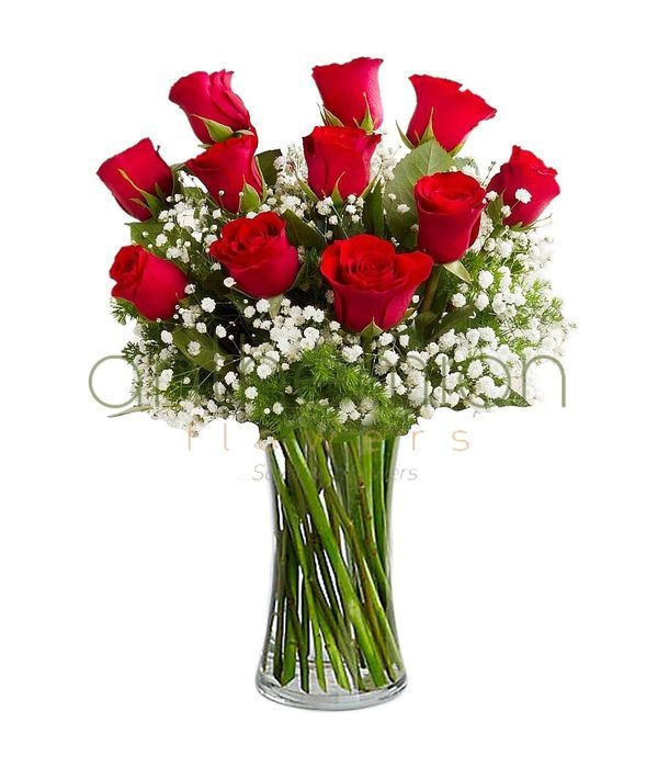 Μπουκέτο με 11 κόκκινα τριαντάφυλλα