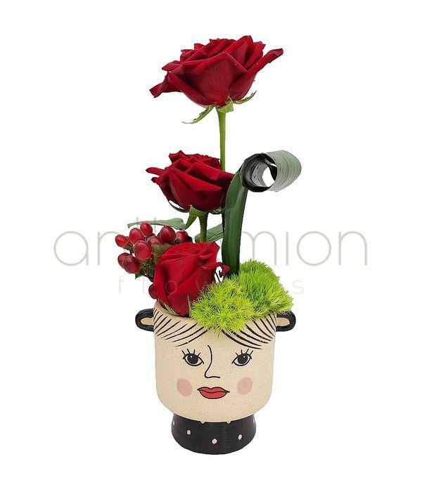 Κεραμική φατσούλα με κόκκινα τριαντάφυλλα