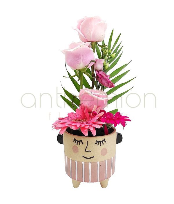 Κεραμική φατσούλα με ροζ λουλούδια