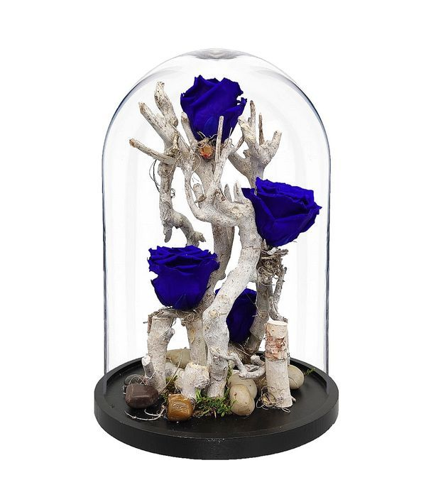 Ξύλινη σύνθεση με μπλε forever rose σε καμπάνα