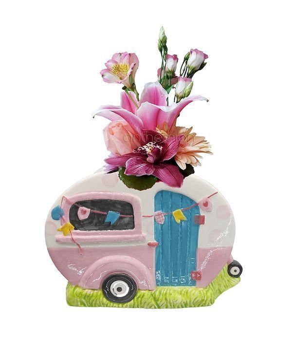 Κεραμικό τροχόσπιτο με ροζ λουλούδια
