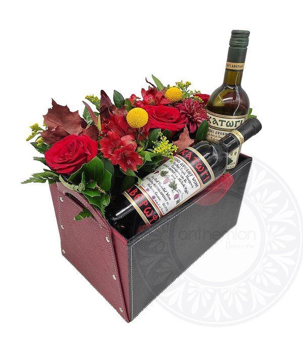 Δίχρωμο κουτί με λουλούδια και κρασιά