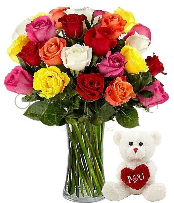 18 πολύχρωμα τριαντάφυλλα με αρκουδάκι