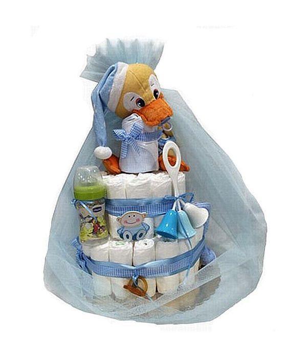 Diapercake for newborn baby boy