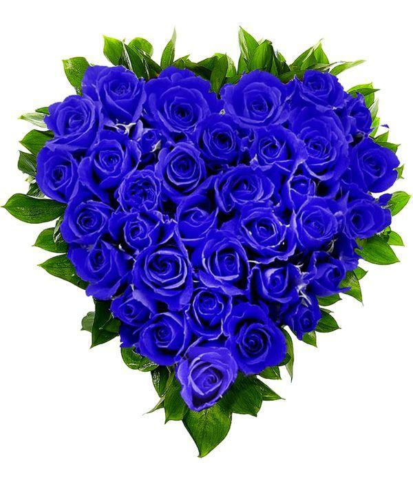 Καρδιά με μπλέ τριαντάφυλλα