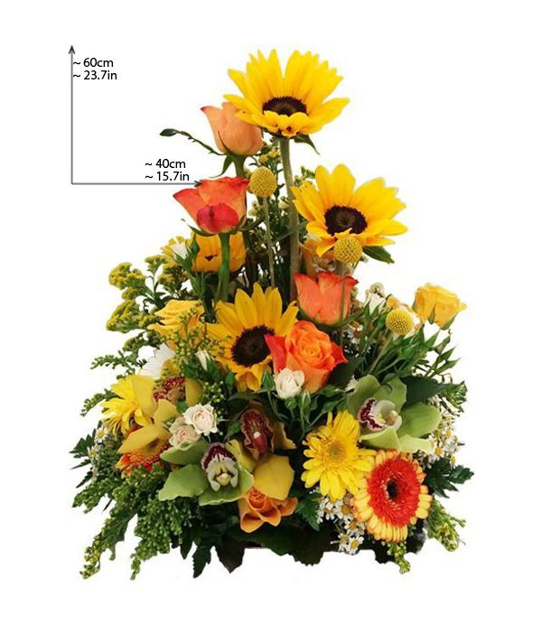 Tall arrangement in bright colors