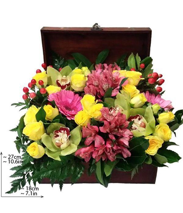 Μπαουλάκι με πολύχρωμα λουλούδια