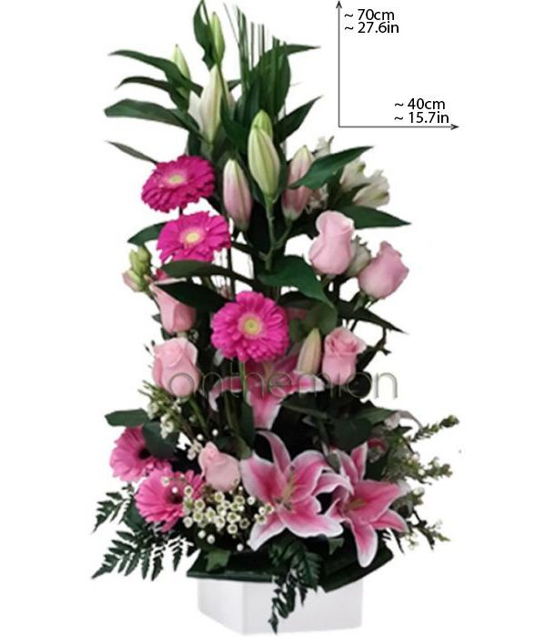 Tall pink and fuchsia arrangement