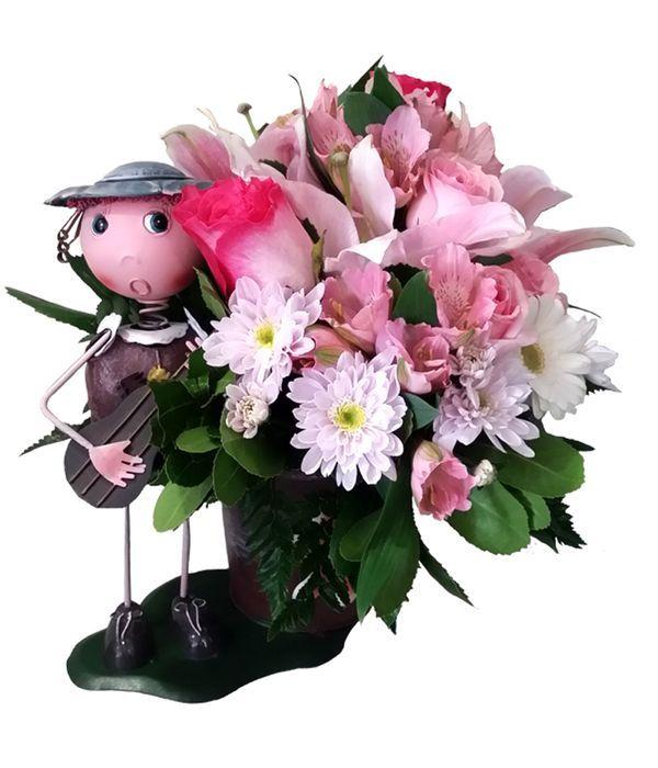 Baby girl metallic floral arrangement