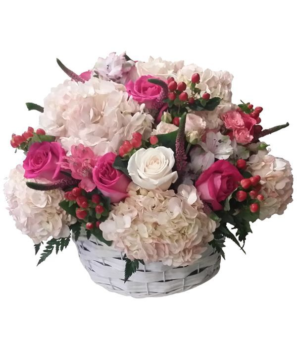 Basket filled with fuchsia and white flowers