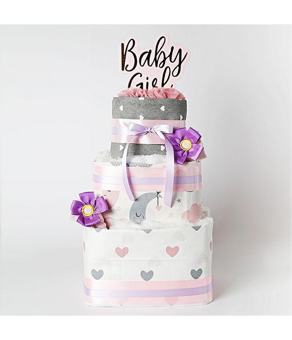 Diaper cake για νεογέννητο κοριτσάκι