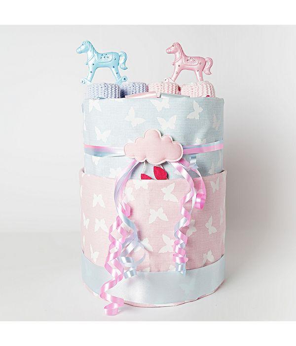 Diaper cake αλογάκια για δίδυμα μωράκια