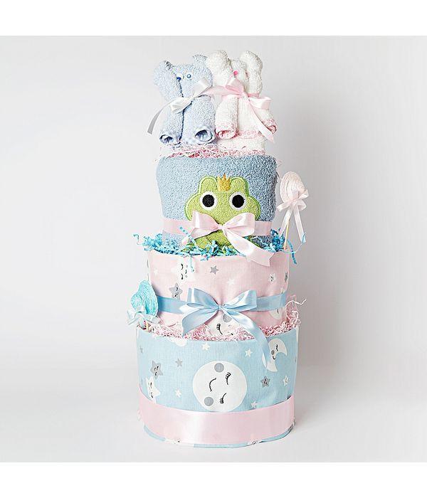 Diaper cake για δίδυμα μωράκια