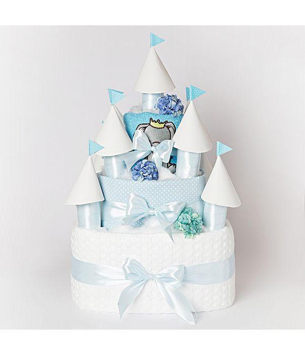 Diaper cake κάστρο για το νεογέννητο αγοράκι