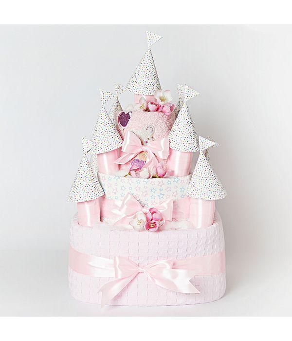 Diaper cake κάστρο για το νεογέννητο κοριτσάκι