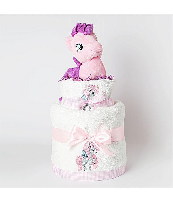 Diaper cake με ροζ μονόκερο