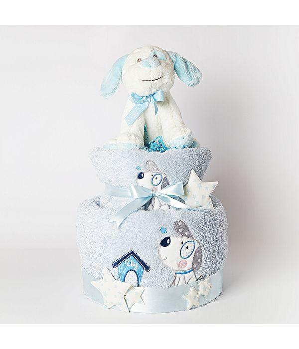 Diaper cake με σκυλάκι για νεογέννητο αγοράκι