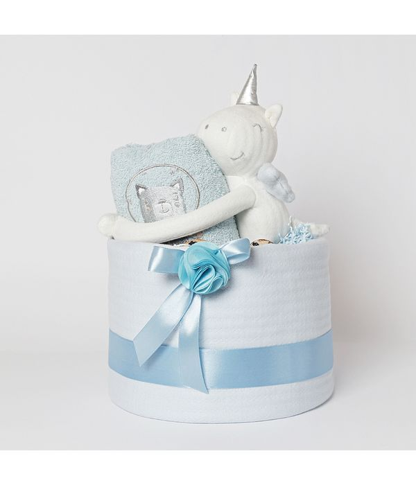 Καλάθι με πάνες και δώρα για νεογέννητο αγοράκι