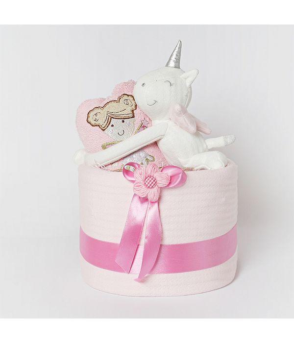 Καλάθι με πάνες και δώρα για νεογέννητο κοριτσάκι