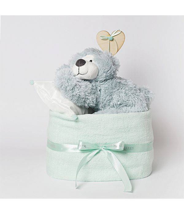 Diaper cake με αρκουδάκι για νεογέννητο αγοράκι