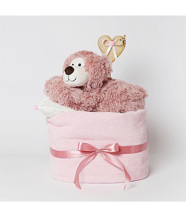 Diaper cake με αρκουδάκι για νεογέννητο κοριτσάκι
