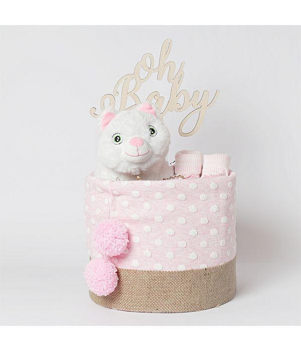 Diaper cake με ροζ αρκουδάκι