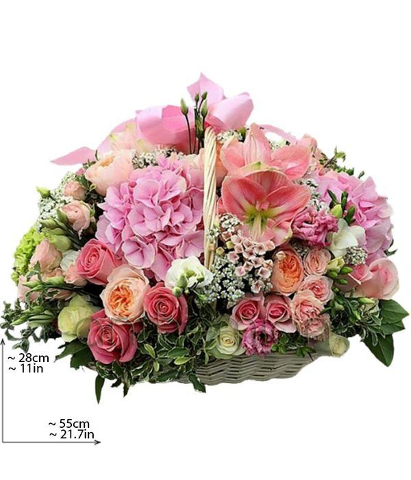 Beautiful pink and white flowers in basket