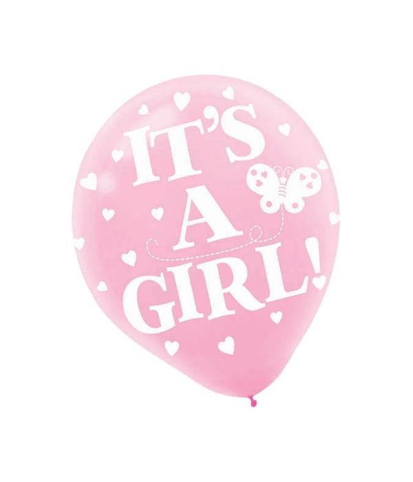 Pink ''It's a Girl'' balloon 30cm.