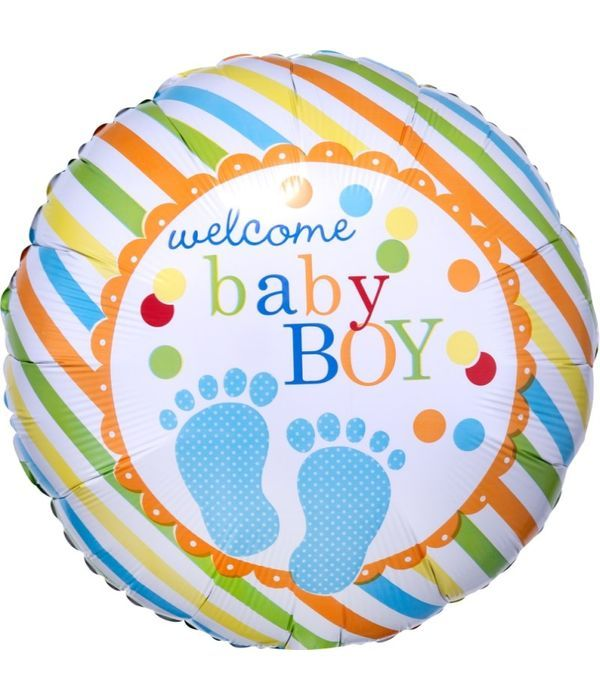 Foil balloon welcome baby boy 43cm
