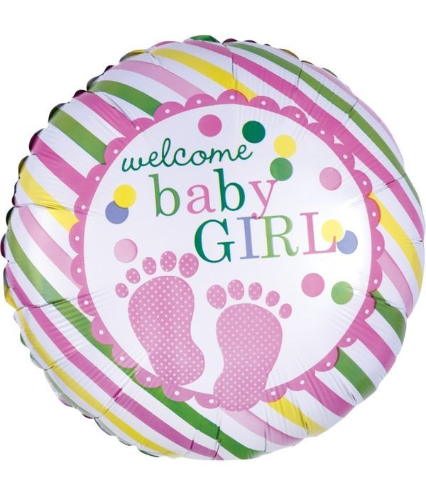 Round foil balloon for baby girl 43cm