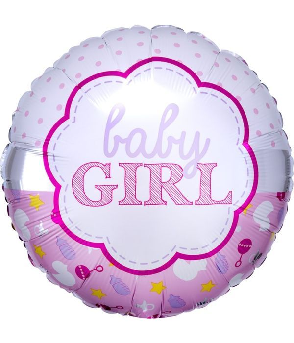 Round pink balloon for baby girl 43cm
