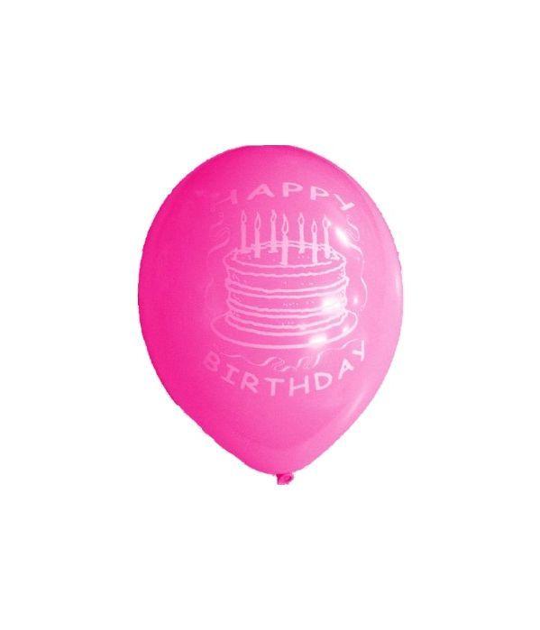 """Ροζ λάτεξ μπαλόνι """"Χαρούμενα Γενέθλια'' 30εκ."""