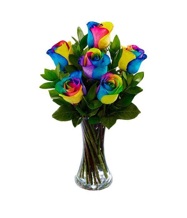 Τριαντάφυλλα ουράνιο τόξο σε βάζο