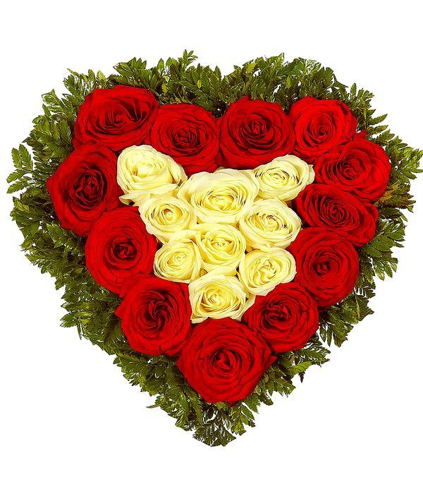 Heart full of red and white roses
