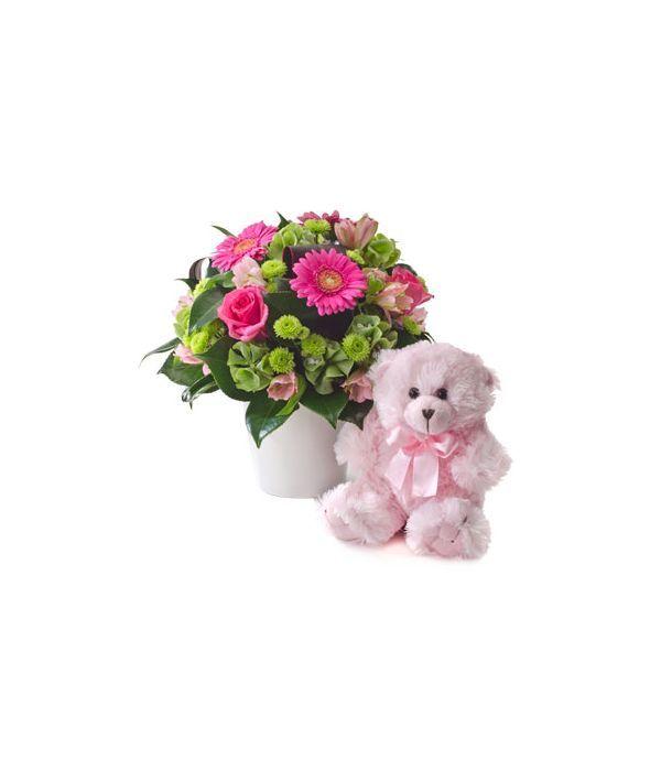 Arrangement for newborn baby girl with a teddy bear