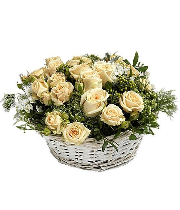 Basket with ivory/cream roses