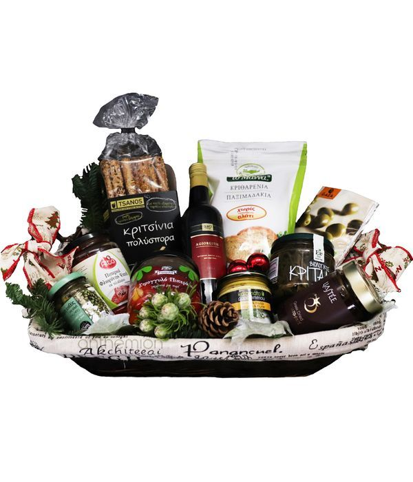 Gourmet Basket with salty delicacies and wine 375ml