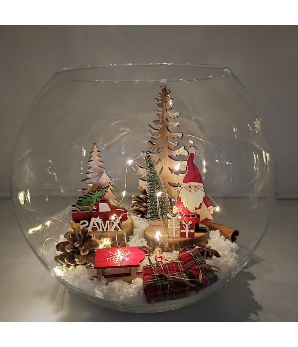 Christmas decoratives in fishbowl
