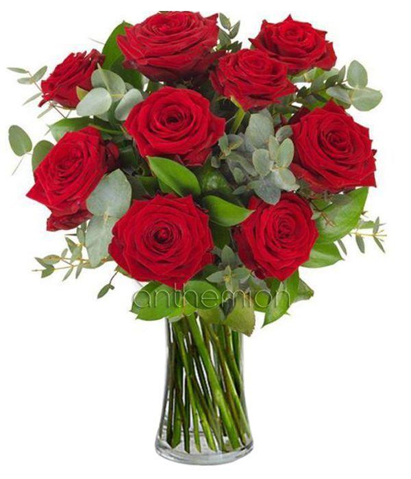 Μπουκέτο με 9 κόκκινα τριαντάφυλλα