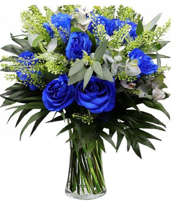 Μπουκέτο με 10 Μπλε Τριαντάφυλλα