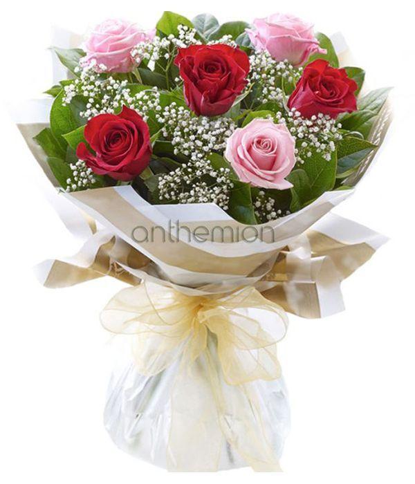 Κόκκινα και ροζ τριαντάφυλλα