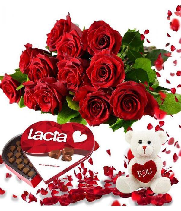 Σετ δώρου με τριαντάφυλλα,σοκολατάκια,αρκουδάκι