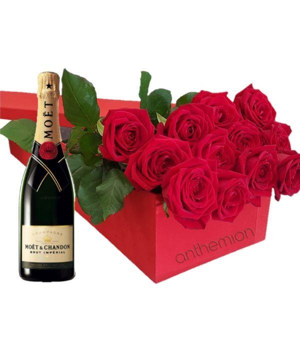 Κουτί δώρου με τριαντάφυλλα και MOET 700ml