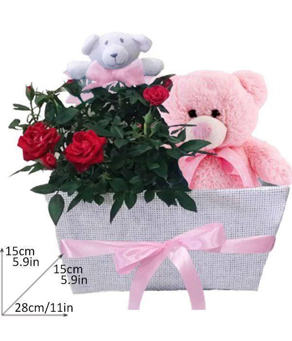 Καλάθι με κόκκινη τριανταφυλλιά και αρκουδάκι για κοριτσάκι