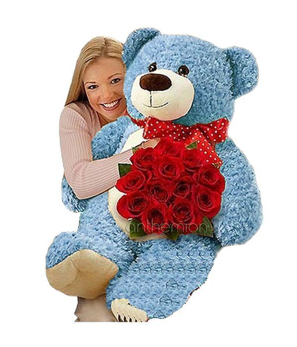 Κόκκινα τριαντάφυλλα με σιέλ αρκούδο 65εκ.