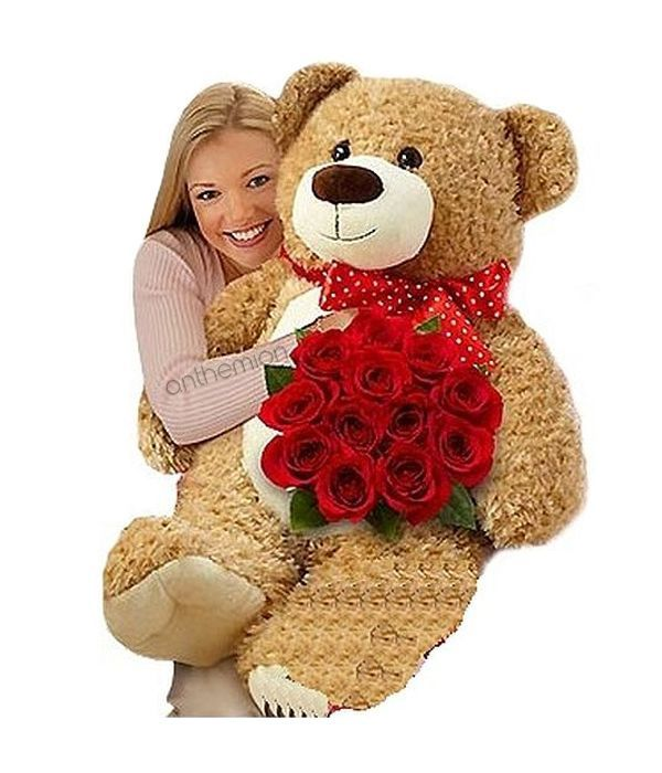 Red roses with beige teddy bear 45cm