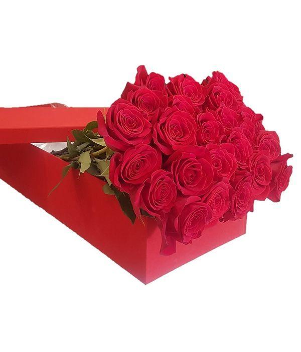24 κόκκινα τριαντάφυλλα σε κουτί