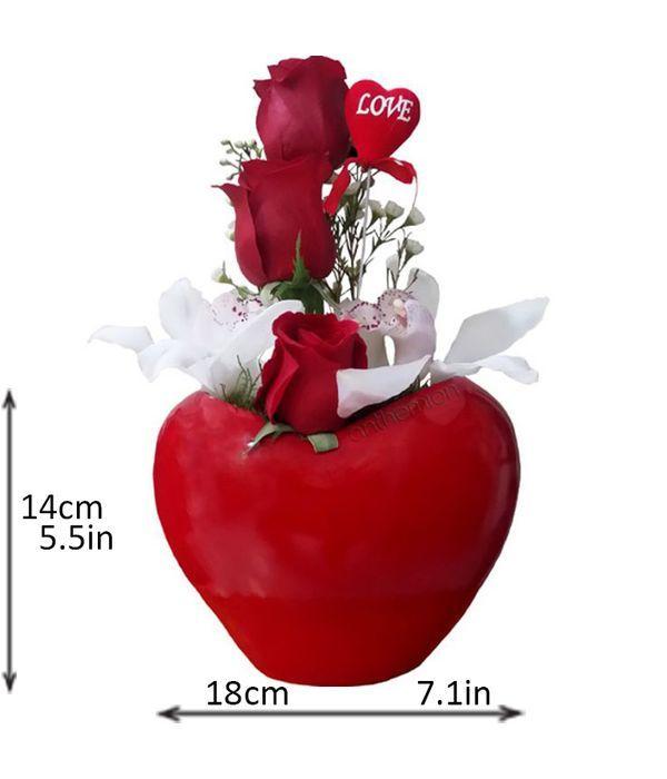 Κεραμική καρδιά με τριαντάφυλλα και ορχιδέες