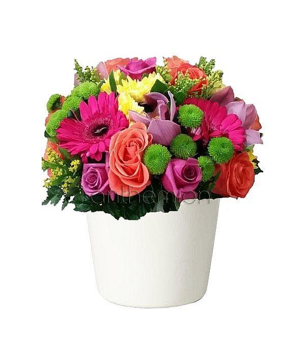 Κεραμική βάση με πολύχρωμα λουλούδια